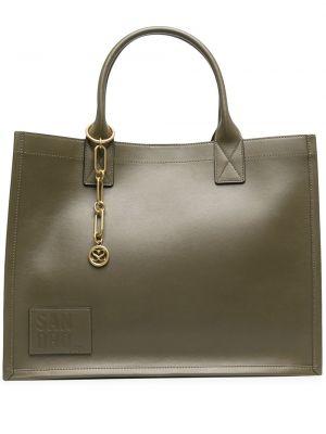 Кожаная зеленая сумка на цепочке с нашивками Sandro Paris