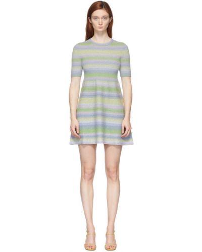 Синее платье в полоску с люрексом Marc Jacobs