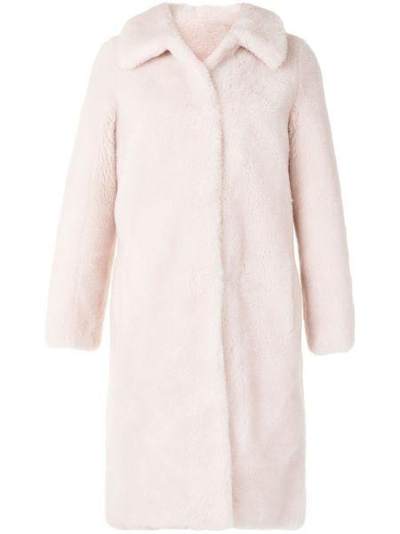 Розовое шерстяное длинное пальто с воротником Yves Salomon Meteo