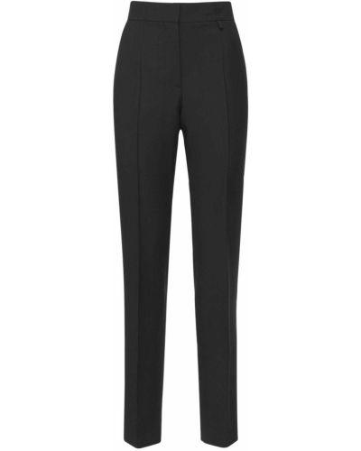 Czarne spodnie z wysokim stanem wełniane Givenchy