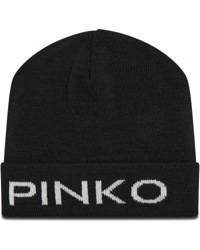 Czarna czapka z akrylu Pinko