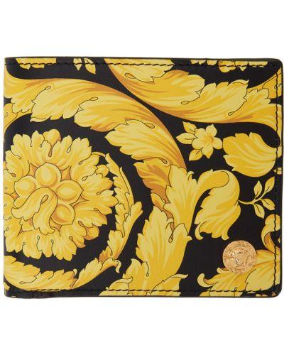 Włókienniczy żółty portfel z gniazdem prążkowany Versace