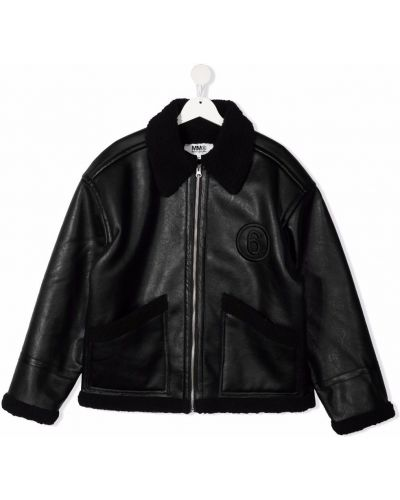 Czarna kurtka z haftem Mm6 Kids