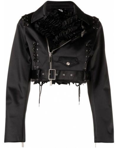 Черная короткая куртка на молнии байкерская Comme Des Garçons Noir Kei Ninomiya