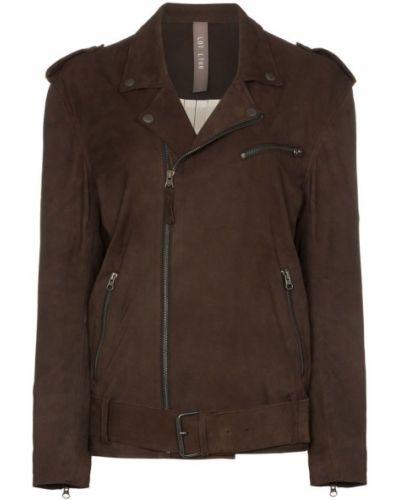 Коричневая длинная куртка байкерская Lot Lthr