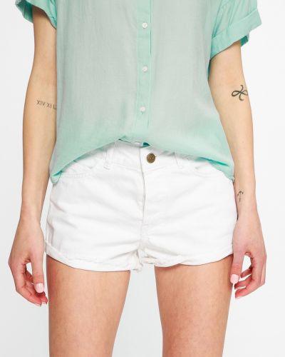 Джинсовые шорты белые с карманами Femi Stories