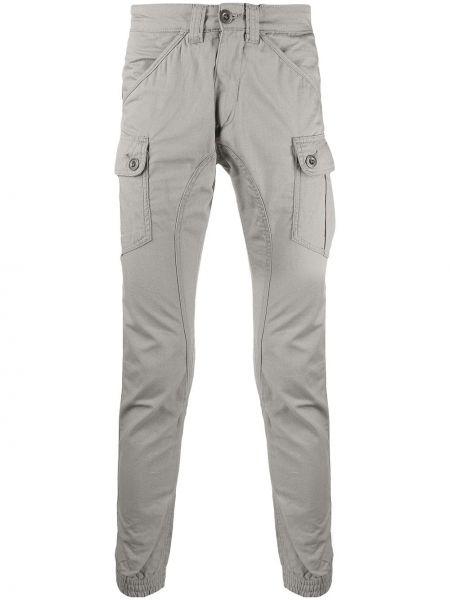 Хлопковые зауженные серые брюки Alpha Industries