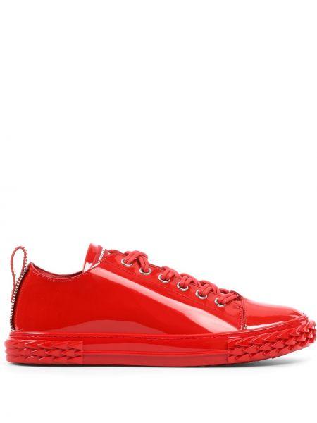 Koronkowa sneakersy zasznurować z prawdziwej skóry Giuseppe Zanotti