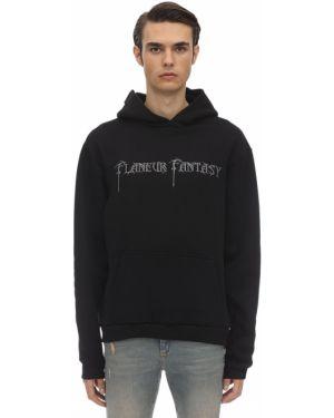 Czarna bluza kangurka z kapturem z haftem Flaneur Homme