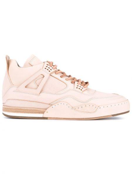 Бежевые кожаные высокие кроссовки на шнуровке Hender Scheme