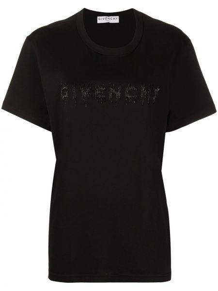 Bawełna prosto czarny koszula z krótkim rękawem z haftem Givenchy