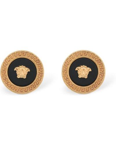Złote kolczyki sztyfty - czarne Versace