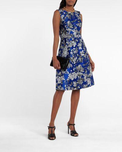Niebieski sukienka midi żakard Carolina Herrera