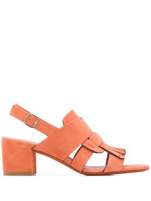 Pomarańczowe sandały skorzane klamry Santoni