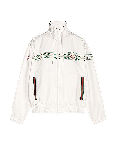 Biały top sportowy bawełniany z haftem Casablanca