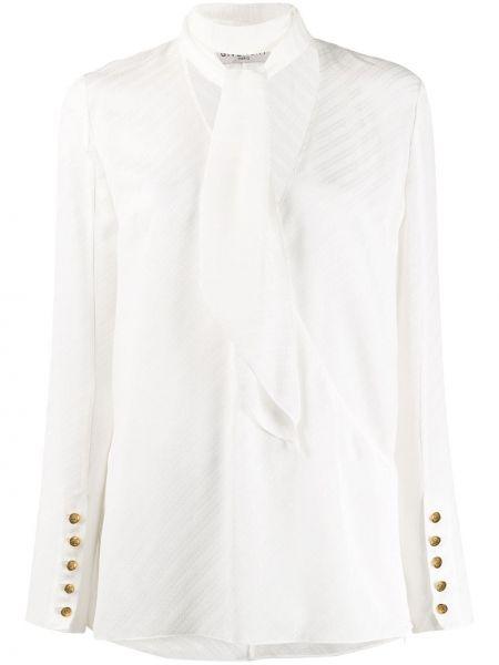 Bluzka z długim rękawem biała w paski Givenchy