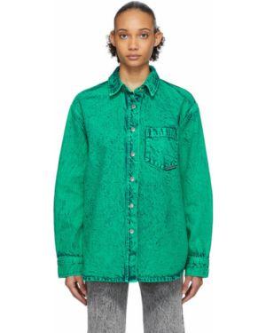 Джинсовая рубашка бирюзовый в полоску Alexander Wang