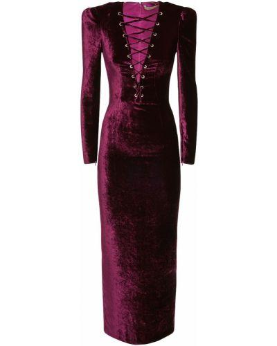 Фиолетовое шелковое кружевное платье макси Alessandra Rich