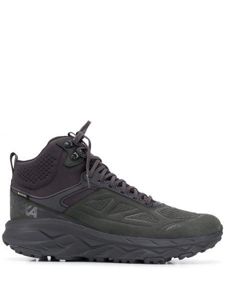 Черные кожаные высокие кроссовки на шнуровке Hoka One One