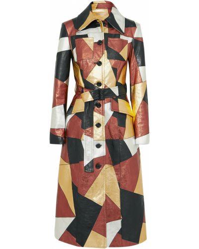 Кожаное пальто с карманами пэчворк Michael Kors Collection