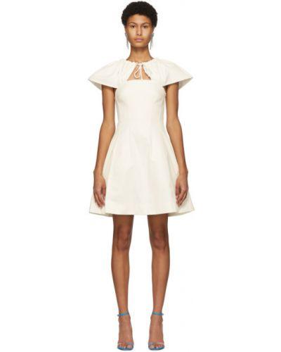 Beżowy bawełna sukienka mini z kołnierzem z kieszeniami Edit