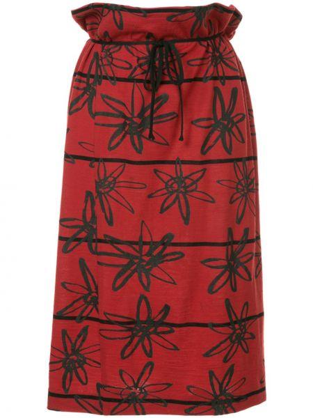 Красная шерстяная с завышенной талией юбка миди винтажная Comme Des Garçons Pre-owned