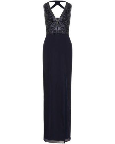Вечернее платье с V-образным вырезом приталенное с высоким разрезом Basix Black Label