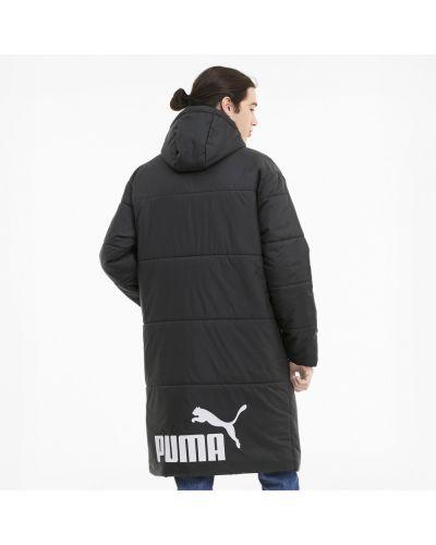 Черная длинная куртка на пуговицах свободного кроя с карманами Puma