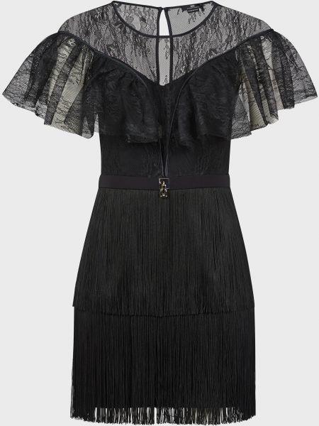 Черное платье на крючках Elisabetta Franchi