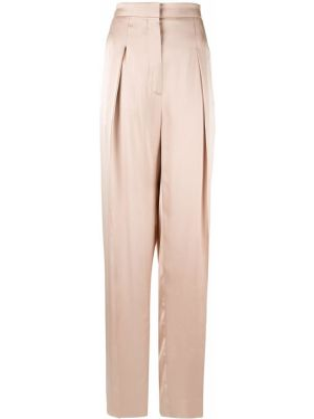 Шелковые коричневые свободные брюки с карманами свободного кроя Rochas