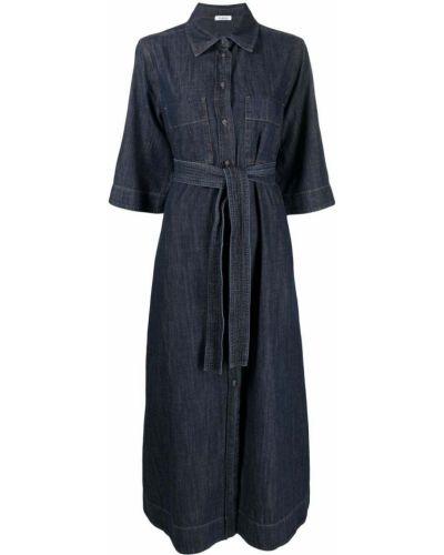 Синее платье миди с поясом с воротником P.a.r.o.s.h.