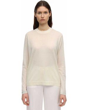 Белый кашемировый свитер с манжетами Falke
