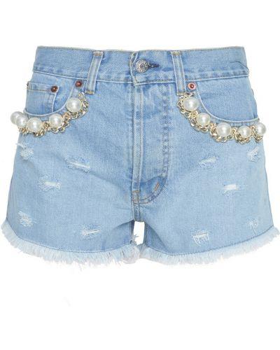 Хлопковые шорты - голубые Forte Couture