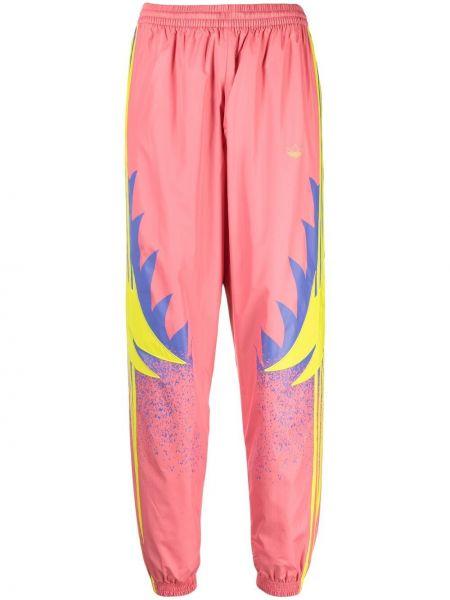 Różowe joggery z wysokim stanem bawełniane Adidas