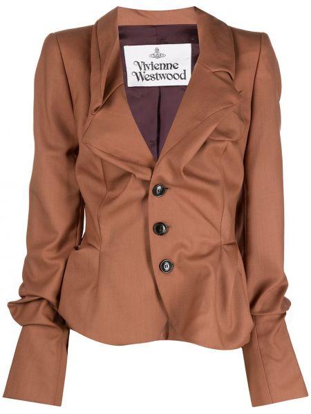 С рукавами коричневая длинная куртка для полных Vivienne Westwood