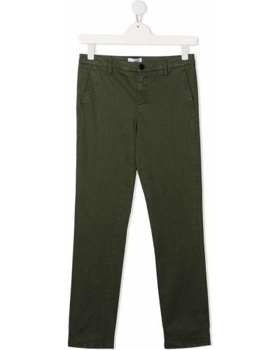 Хлопковые зеленые брюки чиносы с карманами на молнии Dondup Kids