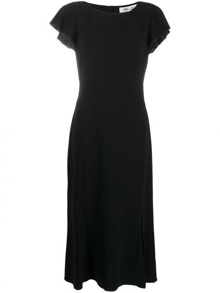 Черное платье миди с открытой спиной на молнии с короткими рукавами Dvf Diane Von Furstenberg