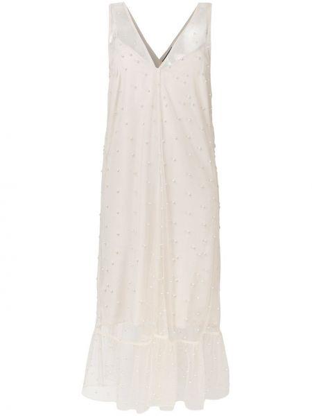 Платье миди с V-образным вырезом с жемчугом Rokh