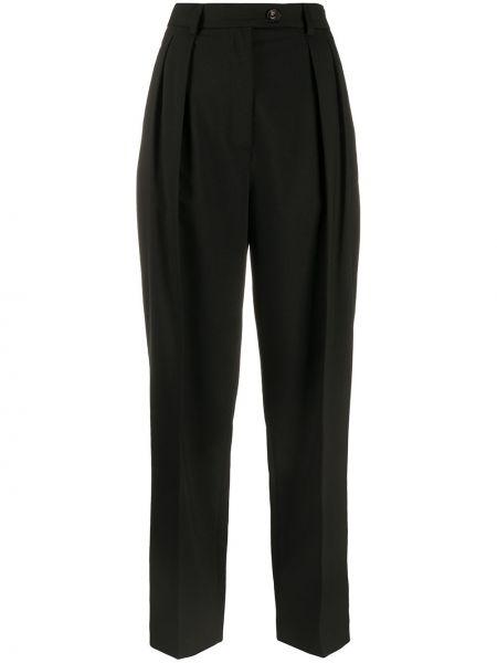 Прямые черные прямые брюки с поясом с высокой посадкой Tela