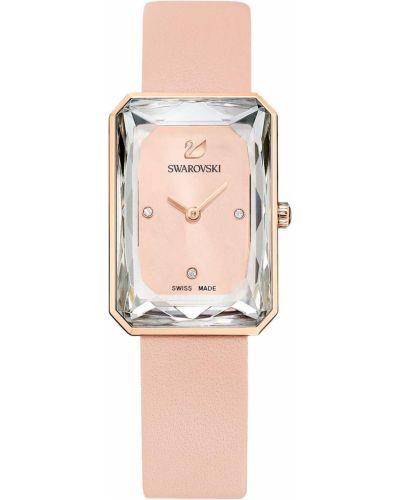 Розовые с ремешком кожаные часы на кожаном ремешке Swarovski