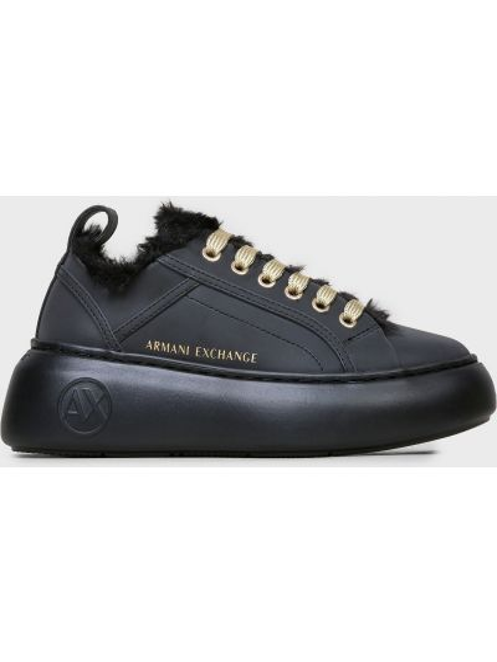 Повседневные черные кожаные кроссовки Armani Exchange