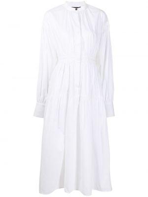 Белое платье миди с длинными рукавами с поясом Proenza Schouler