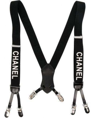 Czarne szelki skorzane z printem Chanel Pre-owned