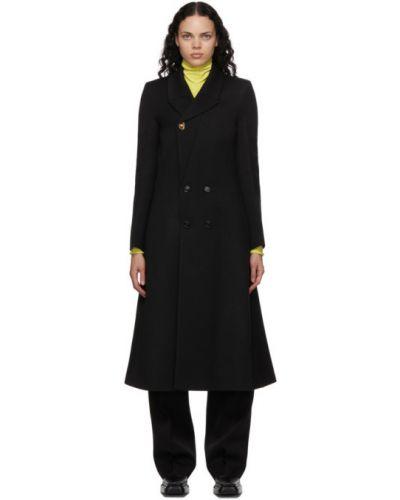Шерстяное черное длинное пальто двубортное Bottega Veneta