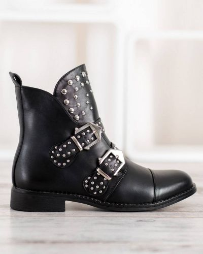 Skórzany czarny botki z wkładkami Merg