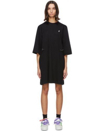 Bawełna czarny sukienka mini z kołnierzem z kieszeniami Off-white