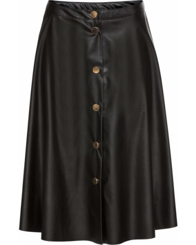 Кожаная юбка на пуговицах черная Bonprix
