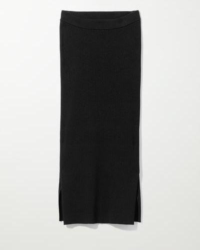 Черная юбка макси с разрезами по бокам Weekday