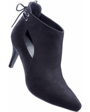 Туфли на каблуке черные на шнуровке Bonprix
