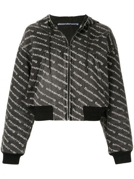 Куртка с капюшоном черная на молнии Alexander Wang
